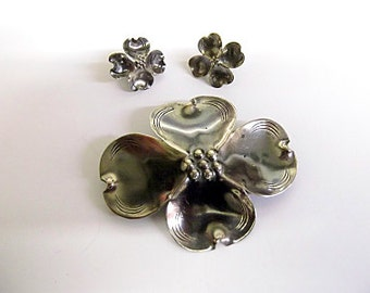 Vintage Sterling NYE Dogwood Flower Brooch, Earrings, Demi-Parure