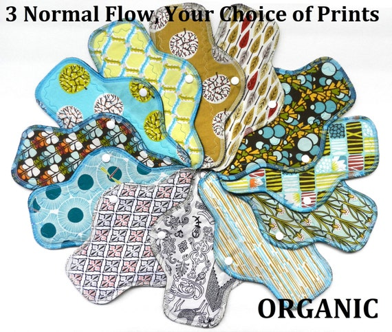 Set of 3 ORGANIC Cotton Normal Flow Pads-You Choose Your Print!