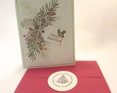 Respectueux de l'environnement Noël fait main carte enveloppe rouge et enveloppe sceau QueenBeeInspirations