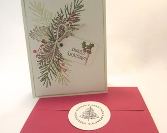 Eco Friendly Handmade Christmas Card Red Envelope and Envelope Seal QueenBeeInspirations