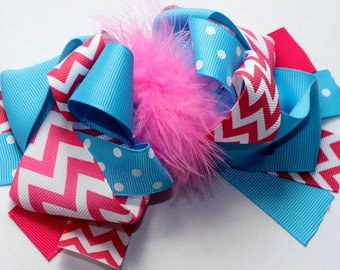 """5.5-6"""" Hot Pink & Blue Funky Hair Bow-Over The Top Bow"""