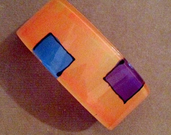 1970s Groovy Plastic WIDE ORANGE Design Bracelet with Blue and Purple Boxes