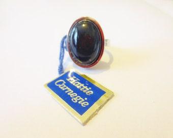 Vintage Hattie Carnegie Ring Sterling Silver Impulse Stone