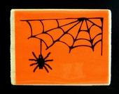 DANGLING SPIDER & WEB Halloween Corner Wood Mount Rubber Stamp