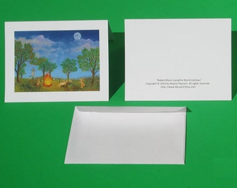 Moon Art Rabbit Card blank Campfire Marshmallows Bunny Hare Party Forest Cookout Park Picnic
