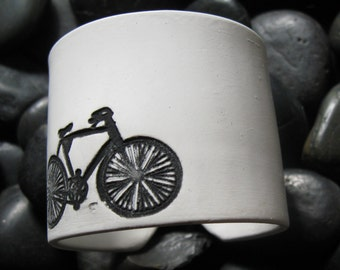 SALE Ivory White Bicycle Cuff bracelet, Handmade Jewelry by theshagbag on Etsy