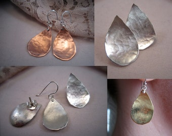 Sm hammered curved tear drop - earrings with ear wire or post - copper, bronze, or sterling