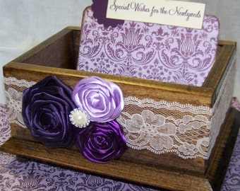 GUEST Book Box, Advice Box, Purple Wedding, Walnut Stained Box, Dark Purple, Plum, Lilac, Ivory Lace, Custom Colors