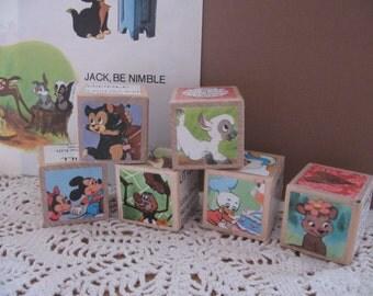 Set of Six Vintage Style Wooden Blocks DISNEYS MOTHER GOOSE
