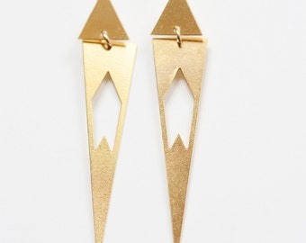 Triangle Chevron Gold Earrings