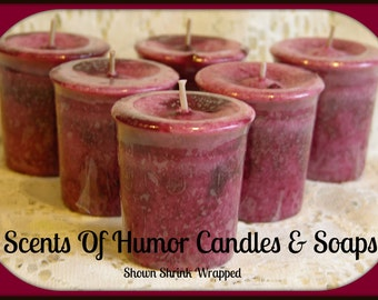 POMEGRANATE Scented Votive Candles - Hand Made Votive Candle - Unique Mottled Wax - Very Highly Scented - Set of 6 Gift Boxed Votive Candles
