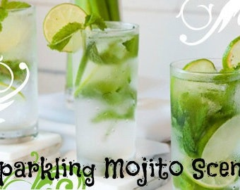 SPARKLING MOJITO Scented Soy Wax Melts - Tarts - Alcoholic Beverage-  Wickless Candle -  Break Away Clamshell - Hand Poured - Highly Scented