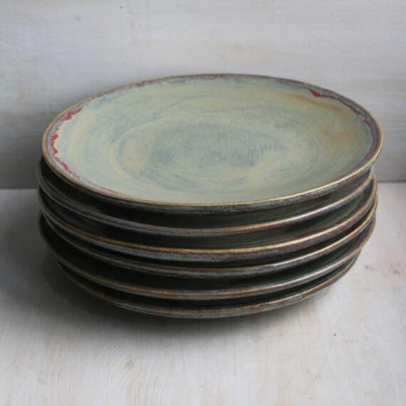 Ceramic Dinnerware Rustic Green Plates Handmade Set Of Six