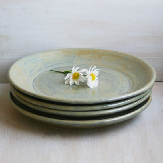 reserved for stephanie ceramic dinner plates rustic green