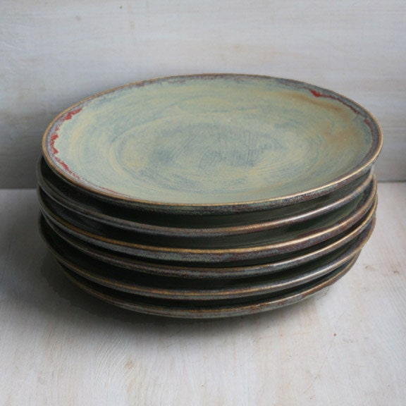 Ceramic Dinnerware Rustic Green Plates Handmade Set Of Six