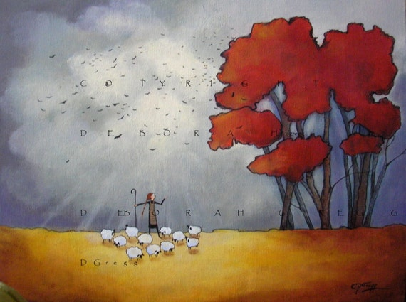 Wide Open Spaces -Stay In The Light   An Original Fall  Sheep Painting on Canvas  by Deborah Gregg