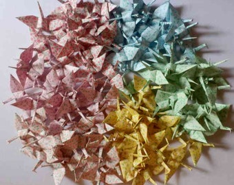 100 Small Origami Cranes Origami Paper Cranes - Made of 7.5cm 3 inches Japanese Paper - Floral Pattern