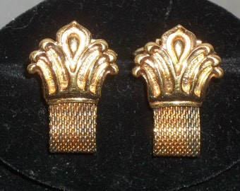 Vintage Gold Plated Sterling Ostby Barton Mesh Wrap Around Cuff Links Cufflinks