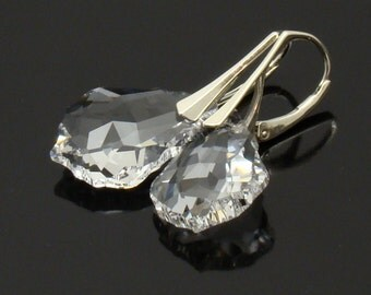 Bridal Earrings Baroque Swarovski Crystal 22mm Sterling Silver,Choose Crystal Color,Bridesmaids Wedding Simple Jewelry