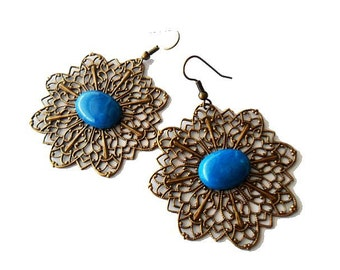 Bohemian Antiqued Brass Filigree and Turquoise Stone Earrings ,boho, gypsy
