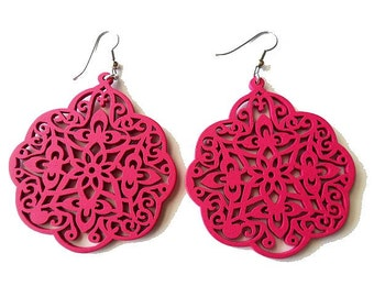 Large Fuchsia Pink Wooden Filigree Earrings , moroccan style, statement