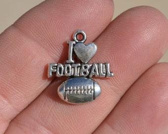 10  Silver I LOVE FOOTBALL  Charms SC1985