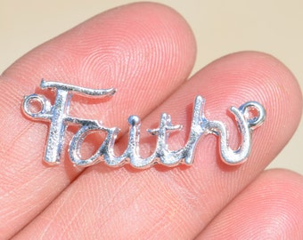 5  Silver Plated FAITH Connector Charms SC2101