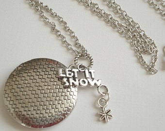 Silver Round Locket Let it Snow Locket Snowflake Locket  Snowflake Locket