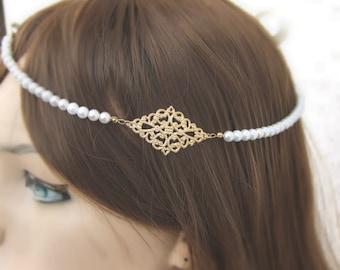 20% OFF,Gold Pearl Headband, Art deco, Bridal Headpiece, Gold Bridal Halo, Wedding Hair Piece, Flower Girl