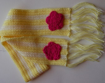 Sweet Yellow and Pink Flower Scarf for Girls, Ready to Ship