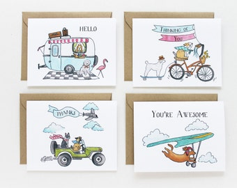 Note Card Set - Traveling Dogs Assorted Set (set of 8)