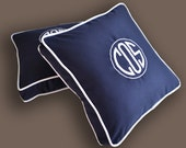 EMBROIDERY MONOGRAM PILLOW - New Style  - Blue Sunbrella, Cotton- Any Color Embroidery and Trim - Any Size -Nursery- Boat