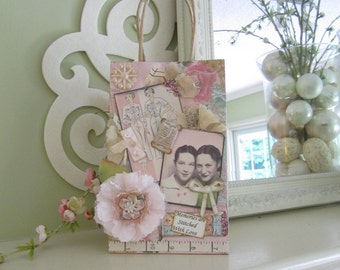 Shabby Chic Gift Bag - Sisters Sewing Gift Bag - Sewing-themed Gift Bag