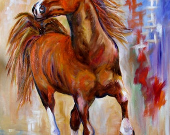 "Horse Art Print by Mary Jo Zorad of Original Painting 8"" x 10"" Horse Art"