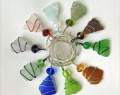 Sea Glass Wine Charms, Set of 10, Wire Wrapped, Can be Used as Pendants