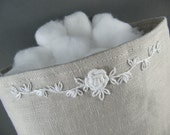 Linen Fabric Basket with White Embroidery
