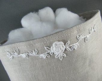 SOLD Linen Fabric Basket with White Embroidery