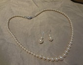Pearl Jewelry set Bridal necklace and earrings graduated pearl necklace and earring set bridesmaids necklace and earrings PS003