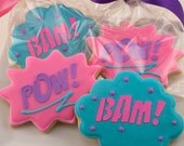 Girl Super Hero Cookies, Pow & Bam only - 36 Decorated Sugar Cookies
