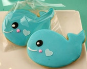 Whale Cookies, Sea Party - 12 Decorated Sugar Cookie Favors