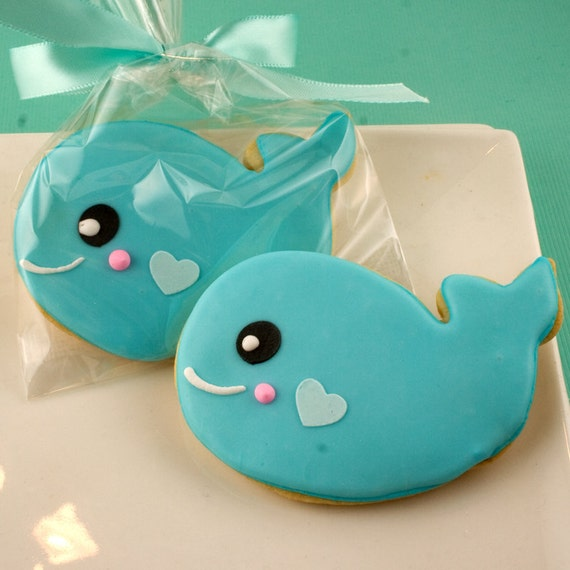 whale cookies sea party 12 decorated sugar cookie favors