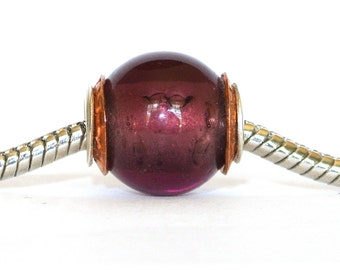 Artisan Big Hole Bead fits ALL Euro Charm Slider Bracelets - Copper Capped Medium Amethyst  BHB