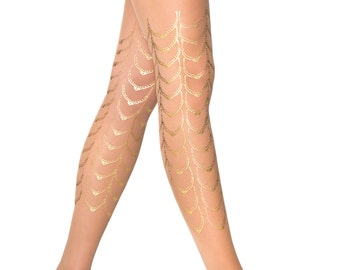 Gold tattoo Cabaret tights, available in S-M, L-XL