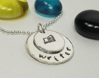 Writer Reader Book Lover - Personalized Charm Necklace - Hand Stamped Necklace - Sterling Silver Charm Necklace - Personalized Necklace