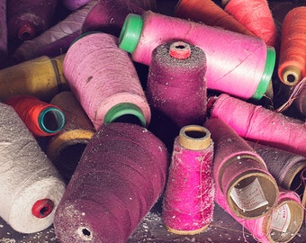 Purple Thread Photography, Sunset Orchid Purple and Orange Home Decor, Spools of Thread, Urban Decay Abandoned Photography, Sewing Factory