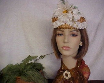 Natural Straw pill box hat with daisy flower- ear rings and brooch not included