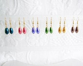 Pearl Teardrop Pierced or Clip On Earring, 12 Colors Available