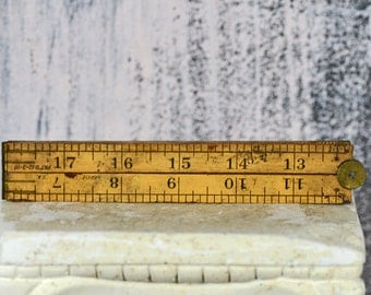 antique 2 foot folding ruler,  24 inches, home decor, coolvintage, collectibles, looks great, wooden ruler,  L T 16