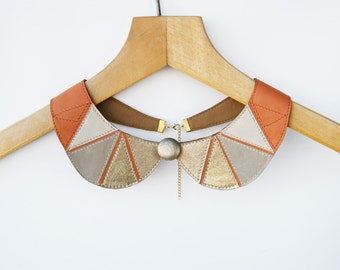 Gold Rust Orange Gray Leather Necklace Peter Pan Detachable Collar  Europeanstreetteam Geometric Jewelry