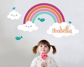 Rainbow Wall Decal with Personalized Name for Kids Nursery Baby Children's Room